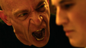 Fletcher (J.K. Simmons) yells for perfection from Andrew Neiman (Miles Teller) during band rehearsal for Whiplash. Image Copyright: Sony Pictures